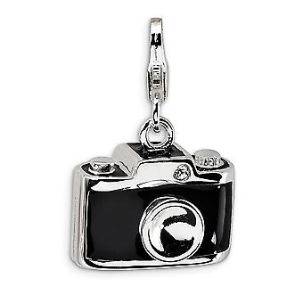 925 Sterling Silver Rhodium plated Fancy Lobster Closure Enamel Crystal Camera With Lobster Clasp Charm Pendant Necklace