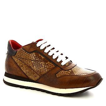 Leonardo Shoes Mężczyźni's ręcznie sznurowane buty brandy cielę skóra krokodyla nadruk