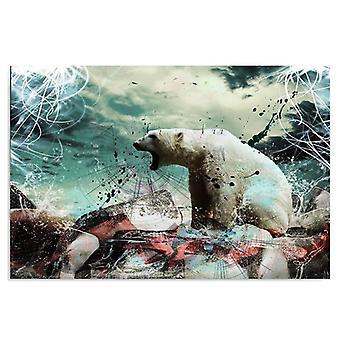 Lona, imagem sobre tela, urso branco