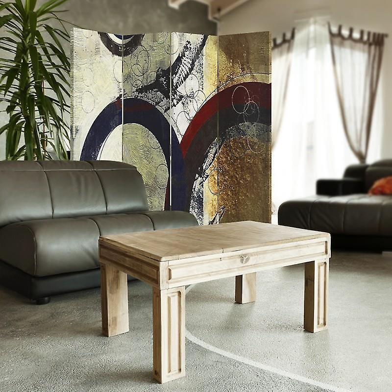 Diviseur de chambre, 4 panneaux, toile, roues abstraites