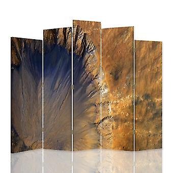 Dekorativa rumsavdelare, 5 paneler, dubbelsidig, duk, strukturell abstraktion 1