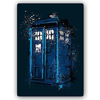 Impression en métal, cabine téléphonique bleue