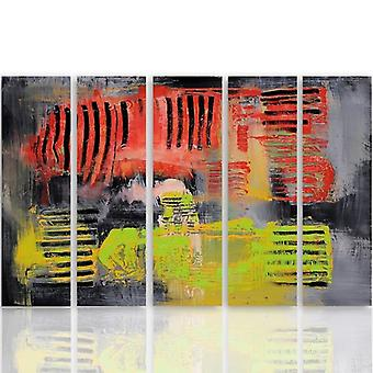 Five Part Picture On Canvas, Pentaptych, Type C, Abstraction 38