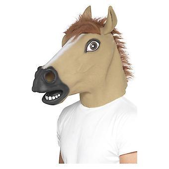 Deluxe Horse Mask, Brązowy, Pełny nad głową, Lateks, z futrem Fancy Dress Akcesoria