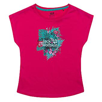 Ragazze Infanti Jack Wolfskin Tropical T-Shirt In Rosa- Cap Sleeve- Ribbed Collare-