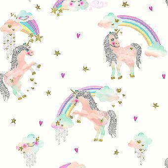 Regenbogen Einhorn Glitter Wallpaper Arthouse