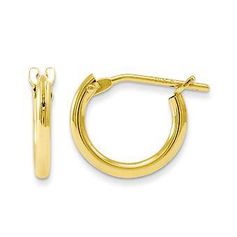14k sárga arany polírozott csuklós utáni Hoop fiúk nak vagy lányoknak fülbevaló intézkedések 10x10mm