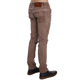 Light Brown Pink Wash Cotton Stretch Slim Fit Jeans By Acht
