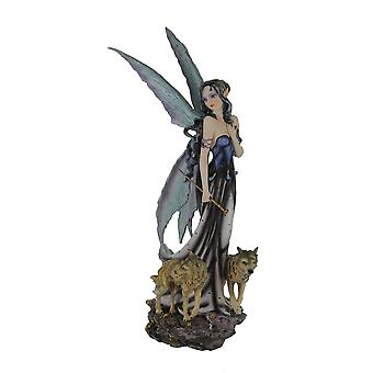 Blue Fairy In Long Dress Walking with Twin Wolves Statue