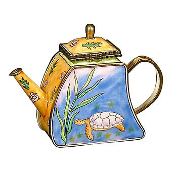 Sea Turtle Enameled Hinged Lid  Miniature Teapot