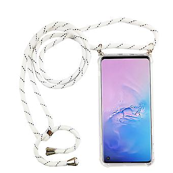 Phone Chain for Samsung Galaxy S10 - Smartphone Necklace Case with Band - Cord with Case to Hang in White
