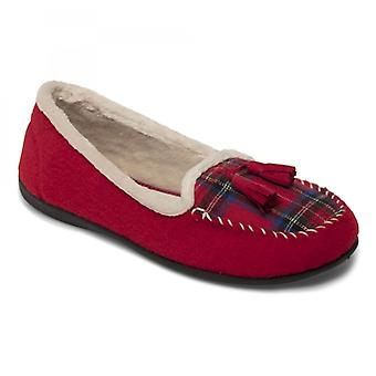 Padders kwast dames voelde Wide (e fit) Slippers Rood