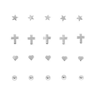 TOC Sterling Silver 20 Piece Assorted Design Nose Stud Set approx 2mm