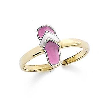14k Yellow Gold Pink Flip Flop Toe Ring Jewelry Gifts for Women - 1.1 Grams