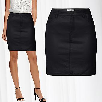 JDY Women's Skirt Coated Leather Optics Midi Pencil Above Knee Length Viscose