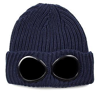 CP Company Extra Fine Merino Wool Goggle Winter Beanie Navy 888
