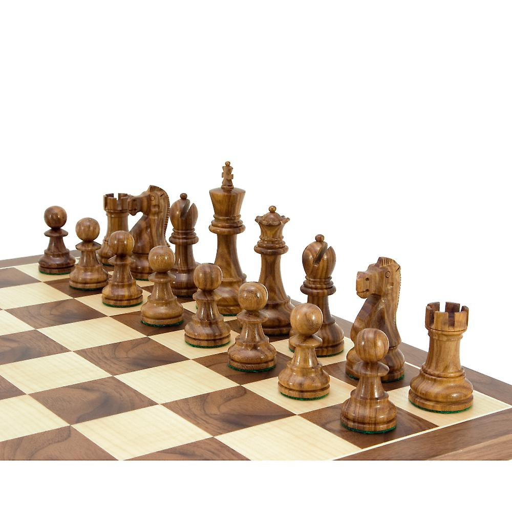 Jacob Knight Golden Rosewood Staunton Chess Pieces 3.75 Inches