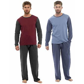 2pk Mens Pyjamas Loungewear Plain Jersey Cotton Long Bottoms Lounge Wear S1