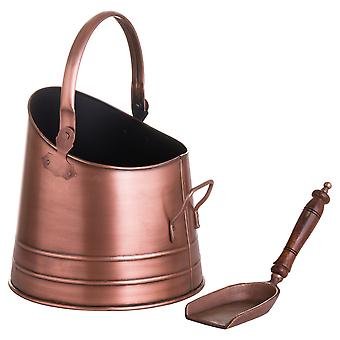 Hill Interiors Copper Effect Coal Bucket with Teak Handled Shovel