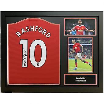 Manchester United Rashford Signert skjorte (Innrammet) 2018-19