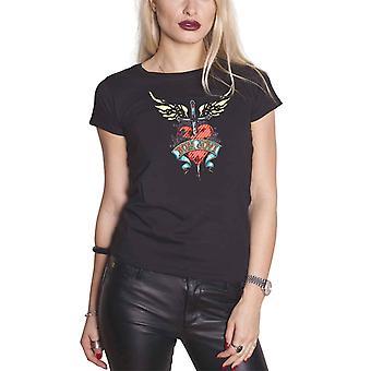 Logo du groupe Bon Jovi T Shirt coeur & poignard nouveau officiel Womens Skinny Fit noir