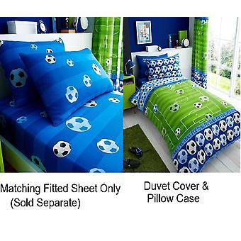 Doel blauwe Voetbal Soccer Kids enkel dekbed Cover kinderen Rotary beddengoed Set