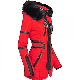 Spindle Womens Luxury Coat Padded Winter Parka Quilted Hood Jacket Zip Pockets PU Diamond Quilt
