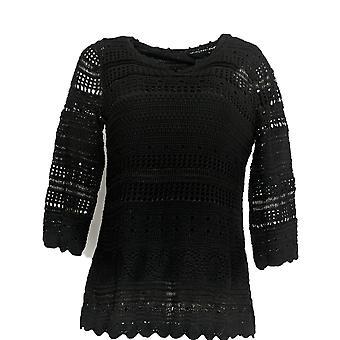 Laurie Felt Women's Top Split V Neck 3/4 Sleeve Crochet Tunic Black A292620