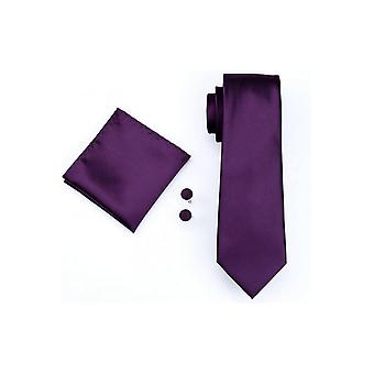 JSS Miesten Syvä violetti tasku neliö, kalvosinnapit ja tie set