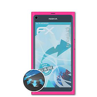 atFoliX 3x Protective Film compatible with Nokia N9 Screen Protector clear&flexible