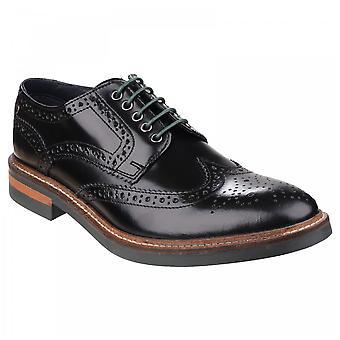 Base London Mens Woburn Black Leather Hi-shine Brogue Business Casual Shoes