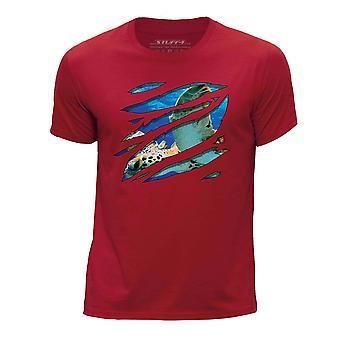 STUFF4 Des jungen Runde Hals T Shirt/große Rip/Schildkröte/Zoo Animal/rot