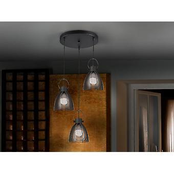 Schuller Tabatha - Lampe ronde de 3 lumières, en métal, finition noire mat. Nuances de maille de métal noir. - 650319