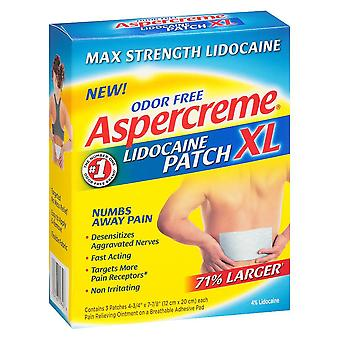 Aspercreme odor free max strength lidocaine patches, x-large, 3 ea