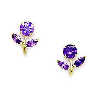 14k Yellow Gold Purple CZ Cubic Zirconia Simulated Diamond Flower With Leaves Screw back Earrings Measures 10x8mm Jewelr