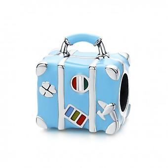 Sterling Silver Charm Blue Suitcase - 6418