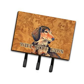 Longhair Chocolate Dachshund Wipe your Paws Leash or Key Holder
