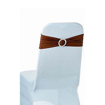Chocolate Plain Stretchable Spandex Chair Sashes With Round Diamante Buckles