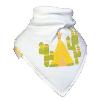 White tipi & cactus bandana bib