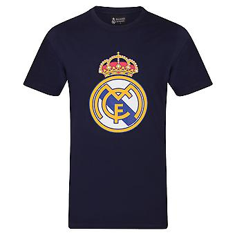 Real Madrid Mens T-Shirt Crest Cadeau officiel de football