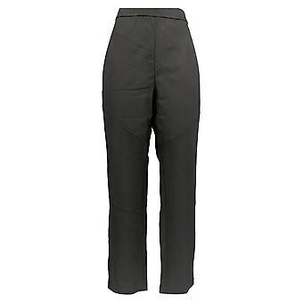 Susan Graver Women's Pants Ponte Pull-On Slim Leg w/Zipper Black A365950