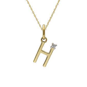الأولي H الماس قلادة رسالة في 9ct الذهب الأصفر 191P0741019