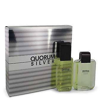 Quorum Silver Gift Set By Puig 3.4 oz Eau De Toilette Spray + 3.4 oz After Shave