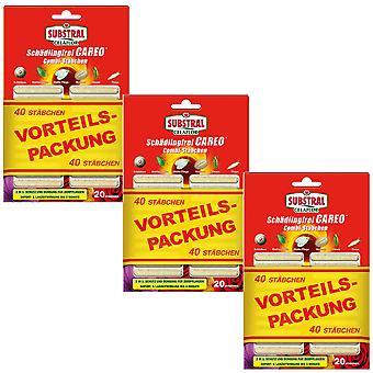 Sparset: 3 x SUBSTRAL® Celaflor® Pest-free Careo® Combi rods, 40 pieces