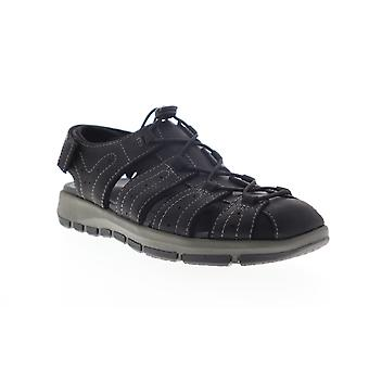 Clarks Brixby Cove  Mens Black Leather Strap Sport Sandals Shoes
