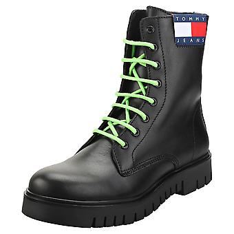 Tommy Jeans Neon Detalhe Lace Up Womens Fashion Boots in Black