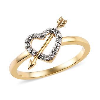 Herz mit Pfeil weiß Diamant Ring Sterling Silber 14ct vergoldet TJC