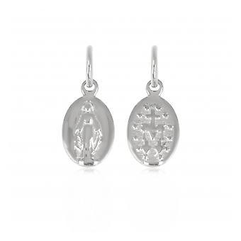 Zilveren hanger Rhodié ovaal en weinig maagdelijke patronen