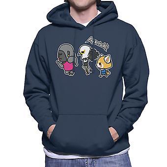 Aggretsuko Gori Washimi Retsuko Walking Men's Hooded Sweatshirt