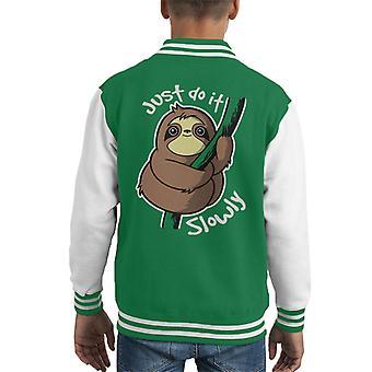 Little Sloth Just Do It Slowly Kid's Varsity Jacket